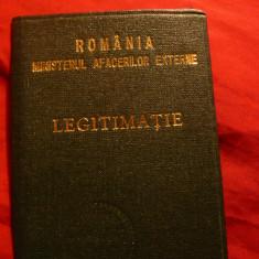 Legitimatie MAE- Ministerul Afaceri Externe 1990 ,Romania