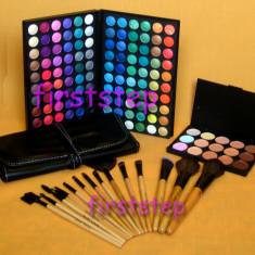 Trusa machiaj Mac Cosmetics farduri 120 culori MAC Set 15 pensule makeup Fond de ten corector
