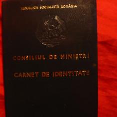 Carnet de Identitate -Consiliul de Ministri 1980 RSR - Pasaport/Document