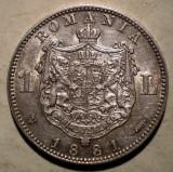 R.069 ROMANIA CAROL I 1 LEU 1881 ARGINT 4,97g