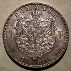 R.069 ROMANIA CAROL I 1 LEU 1881 ARGINT 4, 97g - Moneda Romania