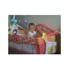 Patut pliabil Bertoni Travel Kid portocaliu + saltea cocos MINI BLUE - Saltea Copii Bertoni, 1-3 ani, Alte dimensiuni