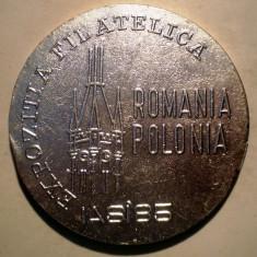 5.389 MEDALIE ROMANIA IASI EXPOZITIA FILATELICA ROMANIA POLONIA 1985 ALUMINIU 55mm - Medalii Romania