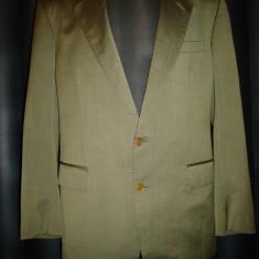 Sacou modern, David Burnett cu stofa Guabello, 100% original - Sacou barbati, Marime: 52, Culoare: Khaki, 2 nasturi, Marime sacou: 52