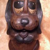"Sculptura de lemn ""sweetest dog"", 100 ani vechime, Animale, Europa"