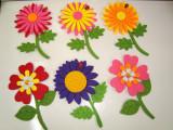 Set 6 FLORI  din fetru  cu magnet ,15 / 9 cm, decor frigider sau marturii