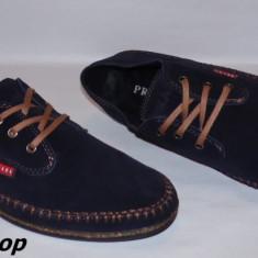 Pantofi PRADA 100% Piele Intoarsa Naturala - Model NOU - Bleumarin / Negru !!! - Pantof barbat Prada, Marime: 42, 43, 44, Piele naturala, Casual