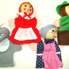 Set 4 figurine marionete pt deget - Povestea Scufita rosie, H 10 cm - Figurina Povesti