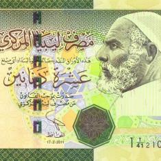 LIBIA █ bancnota █ 10 Dinars █ 2011 █ SERIE 1 █ semnatura 8 █ UNC █ necirculata - bancnota africa
