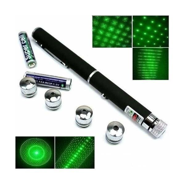 Laser Pointer verde 500 mw cu 5 capete  3D + 2 baterii Alkaline