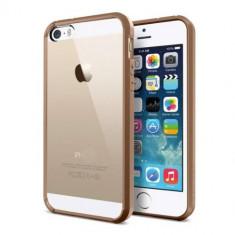 Bumper iphone 5 5S spate transparent + folie protectie - Bumper Telefon, Auriu