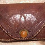 Poseta piele lucrata manual, vintage - Geanta vintage