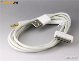 2 in 1 Cablu USB 3.5mm Audio Auxiliar / Date / Incarcator iPod iPhone 3GS 4 4S, iPhone 4/4S