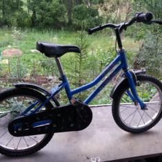 Bicicleta pentru copii - Bicicleta copii, 16 inch, 5-7 ani, Otel, Albastru, Numar viteze: 1