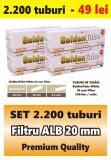 2.200 tuburi de tigari GoldenTube cu filtru alb de 20 mm pentru injectat tutun