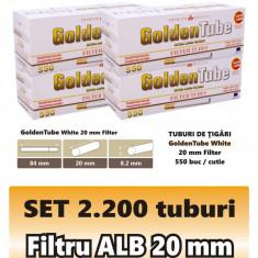 2.200 tuburi de tigari GoldenTube cu filtru alb de 20 mm pentru injectat tutun - Foite tigari