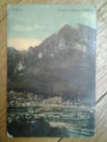 Carte postala Busteni Muntele Caraiman 2800 m panorama orasului circulata 1916 editura V. Teodorescu Muntii Carpati Romania