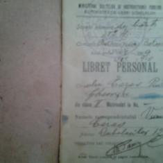 Libret personal Carnet de elev anul scolar 1908-1909 si 1909-1910 Scoala primara de baieti nr. 4 Botosani note conduita extras din regulament - Diploma/Certificat