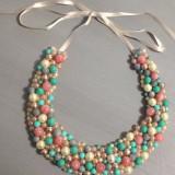 Colier handmade turcoaz natural si perle sticla