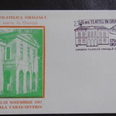 Plic-Efect filatelic-Expozitie Filatelica Omagiala 170 de teatru in Oravita-87