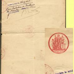 Romania 1910 - Coala fiscala 5 Lei rosu, timbru fiscal fix si sec, fiscale