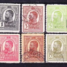 Timbre ROMANIA 1909/* 67 = CAROL I TIPOGRAFIATE, SERIE COMPLETA 6 V. ST., Stampilat
