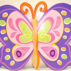 Set 3 Stiker 3D sticher adtibilduri autocolant poster copii, Se apilca si pe geam. Model fluture roz-mov