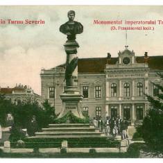 2453 - TURNU SEVERIN, Monumentul Imparatului TRAIAN - old postcard - used 1906 - Carte Postala Oltenia 1904-1918, Circulata, Printata