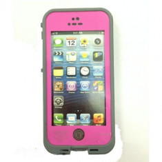 Toc subacvatic roz impermeabil waterproof cu prelungitor casti iPhone 5 + folie - Husa Telefon Apple, iPhone 5/5S/SE, Plastic