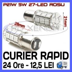 BEC AUTO LED LEDURI P21W 5W BAY15D - DUBLU FILAMENT 27 SMD - STOP POZITIE FRANA - Led auto ZDM, Universal