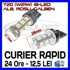 BEC AUTO LED LEDURI T20 W21W 18 SMD - DRL MARSARIER SEMNALIZARE POZITIE FRANA