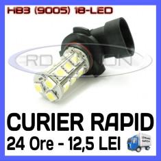 BEC AUTO LED HB3 9005 18-SMD LUMINI DE ZI (DRL) FAZA LUNGA (FLASH) PROIECTOARE
