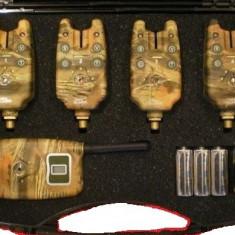 Set 4 avertizori / senzori Marca FL cu statie Model Camuflaj Cu Mufa Jack - Avertizor pescuit, Hanger