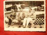 Foto interbelica-  Barbati pe o banca in Borsec , posibil Stroe si Vasilache