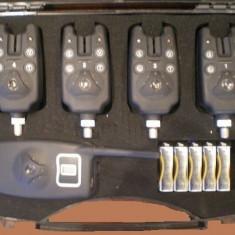 Set 4 avertizori / senzori Marca FL cu statie - Avertizor pescuit, Hanger