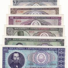 Set complect - 1, 3, 5, 10, 25, 50, 100 lei 1966 aUNC - UNC ...RAR - Bancnota romaneasca