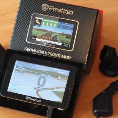 Vand Prestigio geovison 5700BTFMHD personal car navigation GPS cu microsdhc 16GB, 5 inch, Toata Europa, Car Sat Nav