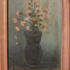 PVM - Vas cu flori ulei pe pinza / semnat indescifrabil 1994 - Tablou autor neidentificat, Realism