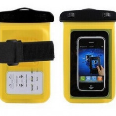 Carcasa Subacvatica Universala iPhone 4/4s/5/5s Samsung S3/S4/S5 + bandou brat - Husa Telefon Samsung, Galben, Plastic, Cu snur