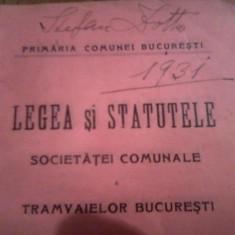 STATUT SOCIETATEA COMUNALA A TRAMVAIELOR BUCURESTI (1909) - Carte Editie princeps