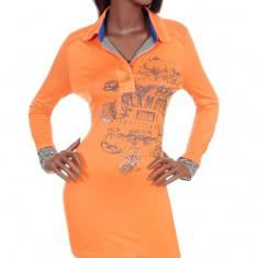 Bluza Portocalie cu Imprimeu, L, M, S, Maneca lunga, Din imagine
