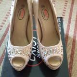 Pantofi platforma - Pantof dama, Bej, Marime: 36