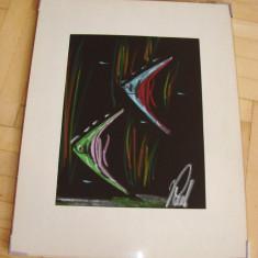 Frumos pastel pe carton, semnat indescifrabil (1) - Tablou autor neidentificat, Realism