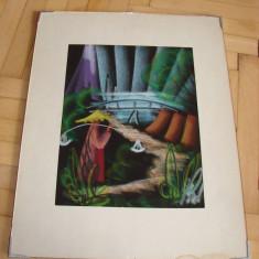 Frumos pastel pe carton, semnat indescifrabil (3) - Tablou autor neidentificat, Realism