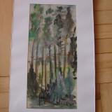 Superba acuarela pe hartie semnata Carl Sandche - Pictor strain, Peisaje, Altul