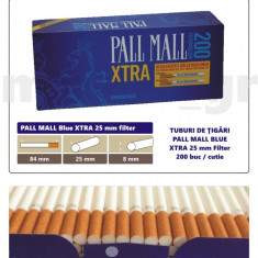 1.000 tuburi de tigari Pall Mall Blue XTra filtru de 25 mm pentru injectat tutun - Foite tigari