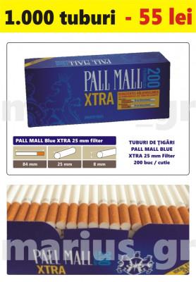1.000 tuburi de tigari Pall Mall Blue XTra filtru de 25 mm pentru injectat tutun foto
