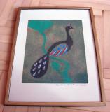 Pictura frumoasa reprezentand un paun, semnat si datat 1978, Animale, Altul