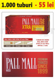1.000 tuburi de tigari Pall Mall Rosu XTra filtru 25 mm pentru injectat tutun