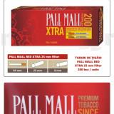 1.000 tuburi de tigari Pall Mall Rosu XTra filtru 25 mm pentru injectat tutun - Foite tigari